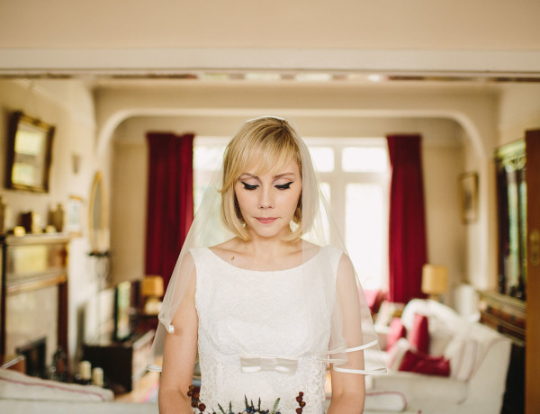 Intimate portrait of bride in her house