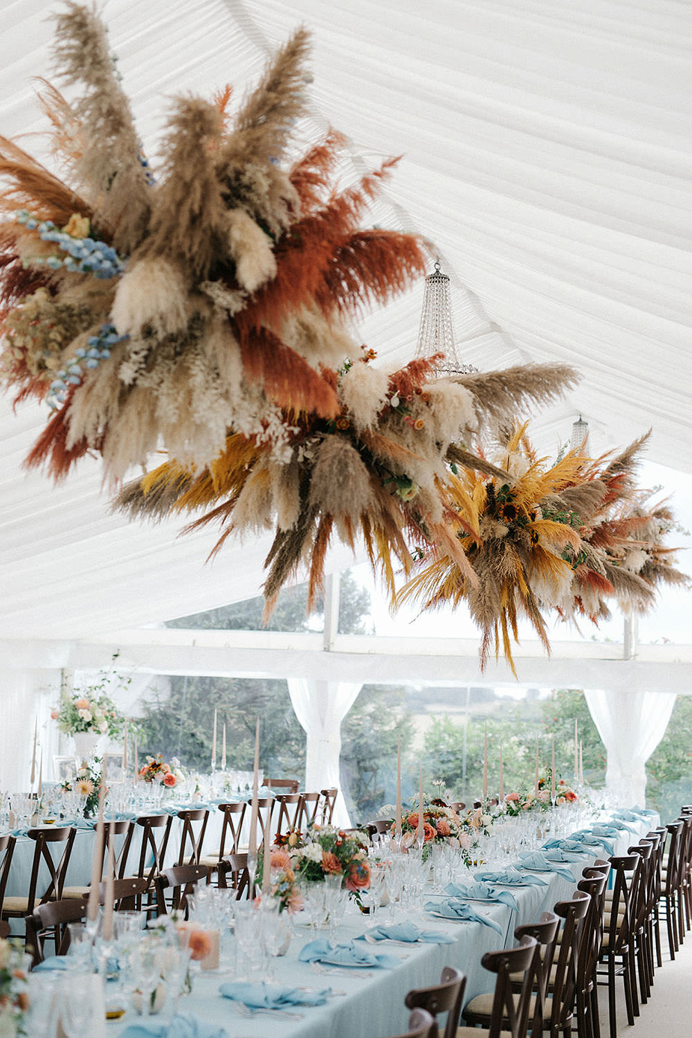 Colourful wedding florals and decor