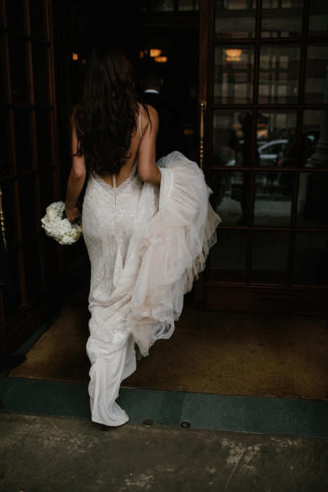 cool and modern bride entering the Ned