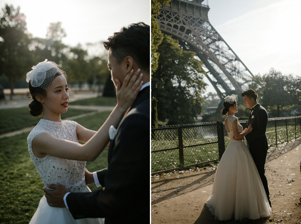 sunset engagement session in paris