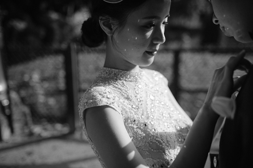 black and white portrait of a bride in Paris