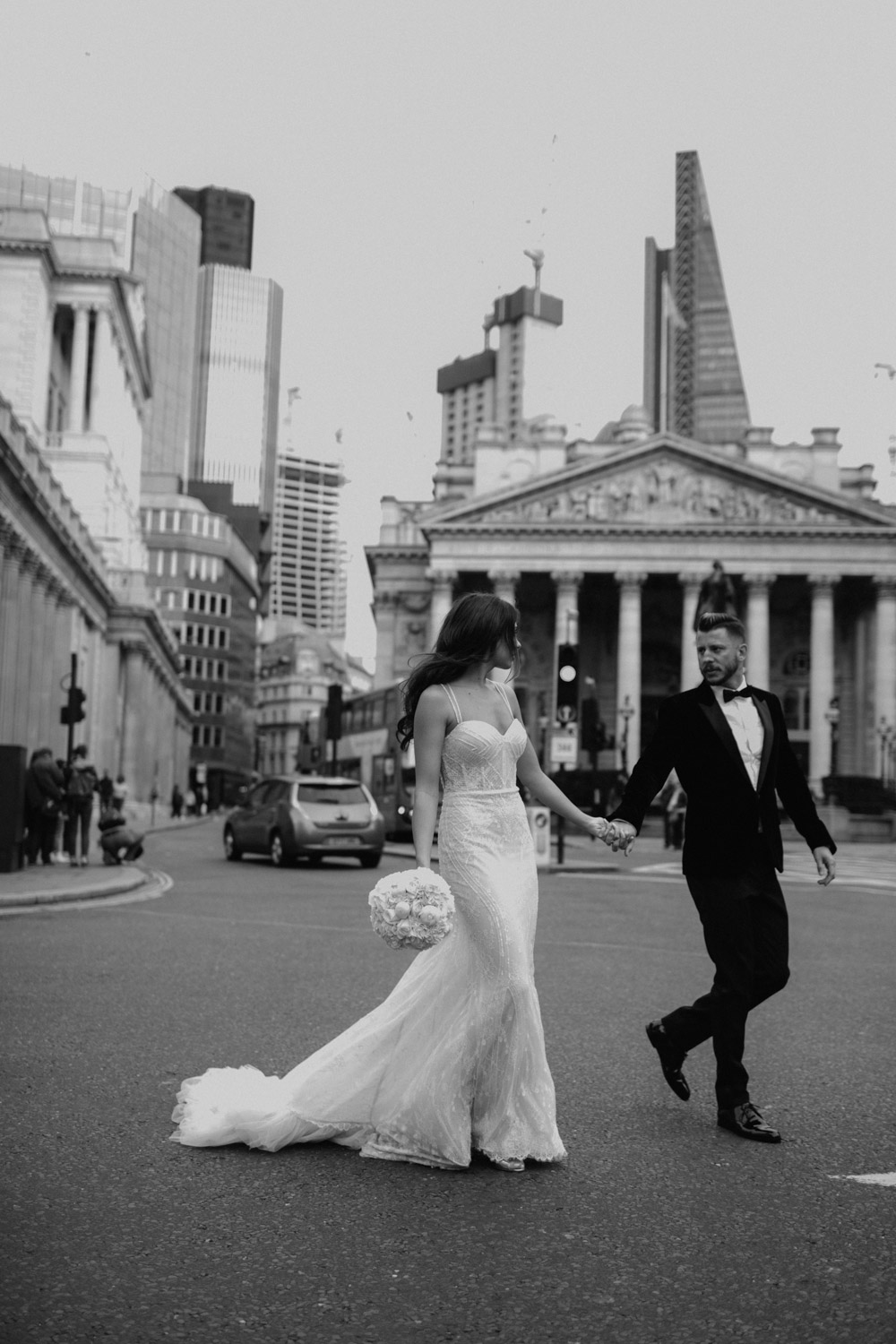 bride wearing a berta wedding dress in London