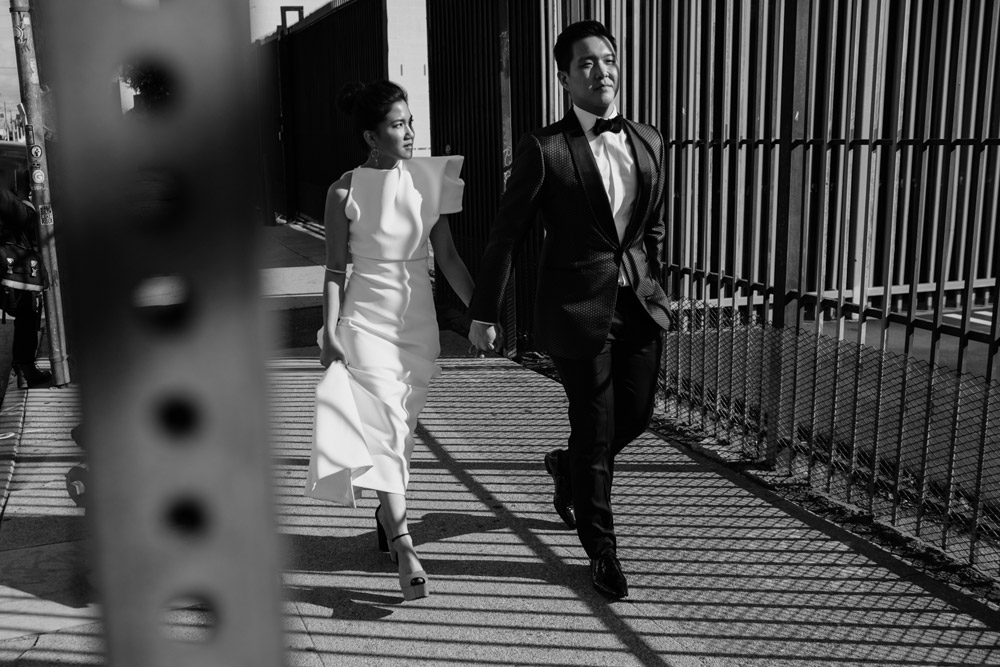 bride in a toni maticevski dress and groom wearing a tom ford suit