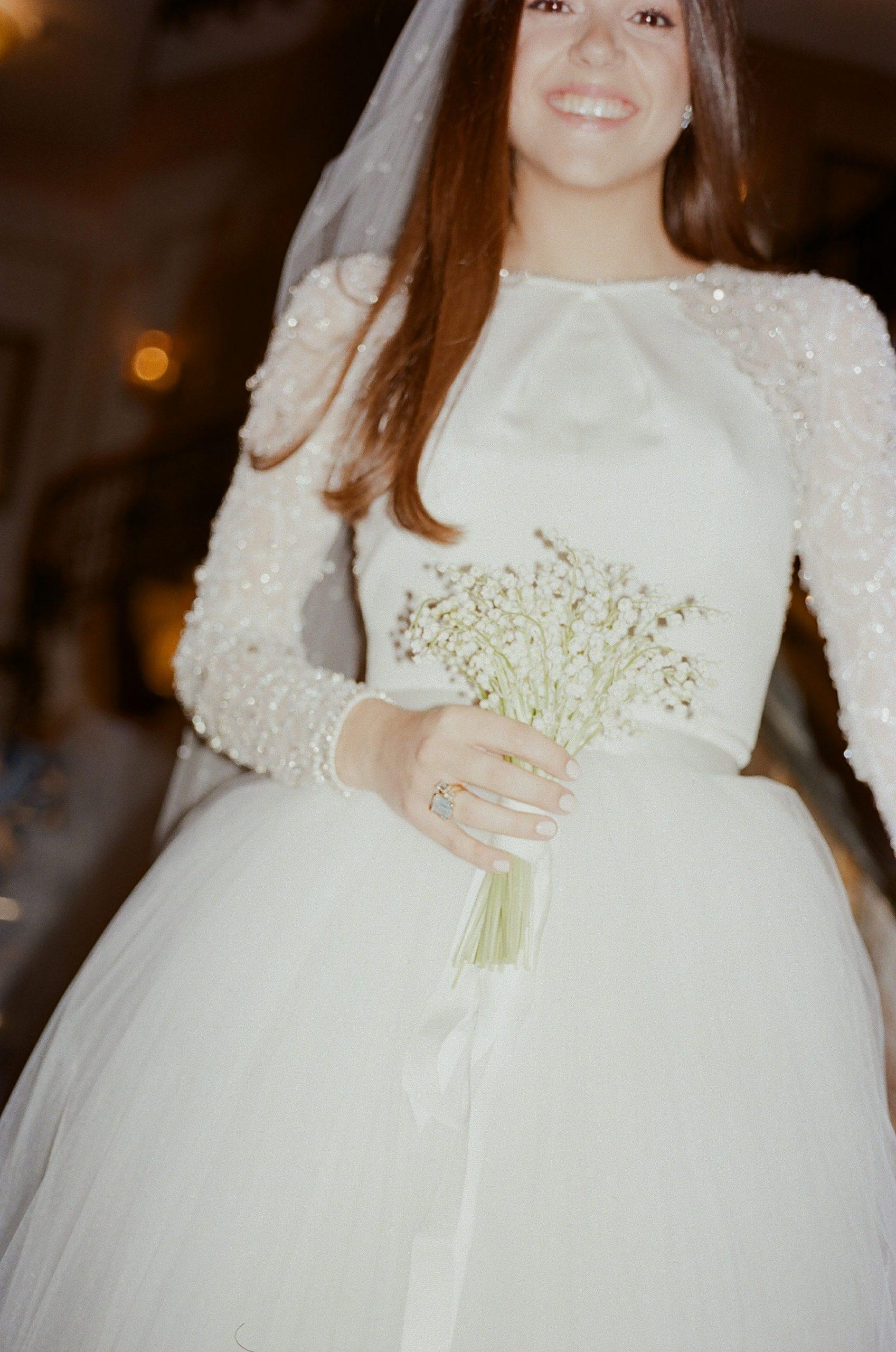 Bride wearing bespoke Jenny Packham